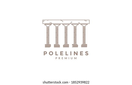monument pole  line logo vector icon illustration design