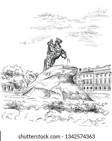 Monument of Russian emperor Peter the Great on Senate square, St. Petersburg, Russia. View on bronze horseman and Senate. Isolated vector hand drawing illustration in black color on white background.
