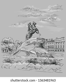 Monument of Russian emperor Peter the Great, St Petersburg, Russia. View on bronze horseman monument and  Senate. Vector hand drawing illustration in black and white colors on grey background.
