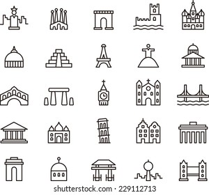 MONUMENTS icon set
