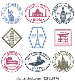 Monuments and world landmarks postal stamps set isolated vector illustration