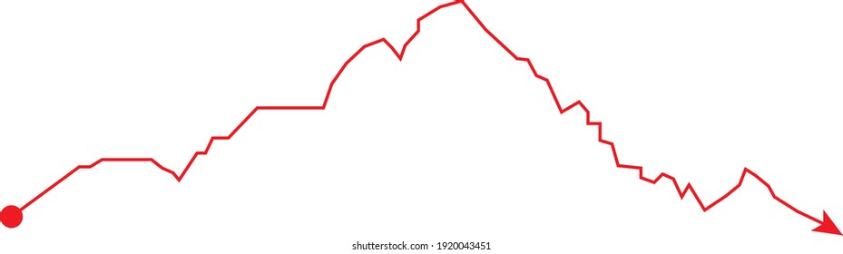 Monviso mountain (Piedmonte, Italy) contour with red itinerary arrow vector illustration