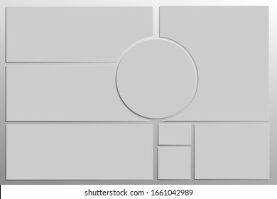 mood Board,  layout, template for creating presentations, whiteboards, or collages. Strict composition in a minimalistic style. The substrate imitates a metal surface. Vector illustration.
