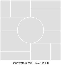Mood board templates collage frames for photo or illustration. Creative theme mood board, logo template, collage frames with universal colour palette.