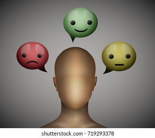 mood concept, faceless man think about face expression,  choose the mood, hide the emotions, vector