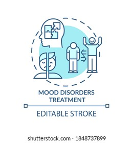 Mood disorders treatment concept icon. Bipolar disorder diagnostics idea thin line illustration. Depression. Mood stabilizing medicines. Vector isolated outline RGB color drawing. Editable stroke