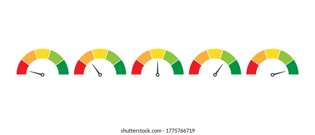 Mood indicator level. Rating scale. Speedometer measure in colorful flat design. Evaluation of service from bad to excellent level. Isolated set of satisfaction diagram. Vector EPS 10