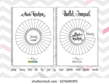 image regarding Bullet Journal Mood Tracker Printable identified as Pattern Tracker Inventory Examples, Pics Vectors