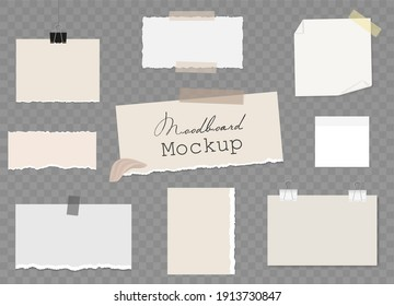 Moodboard Blank template with different notes on sticky tape and binder clips, pieces of torn paper, reminder card. Mockup on transparent background. Vector 3d realistic. EPS10.