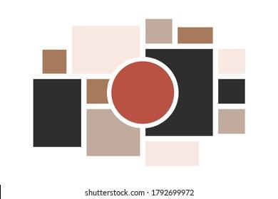 Moodboard layout. Photo frames mosaic minimalist template, collage grid arrangement for presentation. Vector illustration photo album page or inspiration blog tile template mood