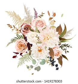 Moody boho chic wedding vector bouquet. Warm fall and winter tones. Orange red, taupe, ivory, brown, cream, gold, beige, sepia autumn colors. Rose flowers, dahlia, ranunculus, pampas grass, fern.