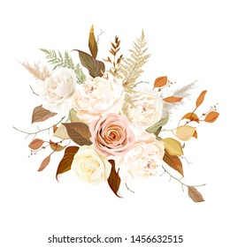 Moody boho chic wedding vector bouquet. Warm fall and winter tones. Orange red, taupe, ivory, brown, cream, gold, beige, sepia autumn colors. Rose flowers, peony, ranunculus, pampas grass, fern.
