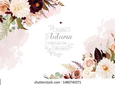 Moody boho chic wedding vector design frame. Warm fall and winter tones. Orange, taupe, burgundy, brown, cream, gold, beige, sepia autumn colors. Rose flowers, protea,ranunculus, dahlia, pampas grass