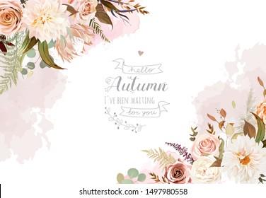 Moody boho chic wedding vector design frame. Warm fall and winter tones. Orange, taupe, brown, cream, gold, beige, sepia autumn colors. Rose flowers, protea,ranunculus, dahlia, pampas grass,fern