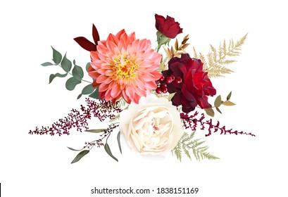 Moody boho chic wedding vector design bouquet. Warm fall and winter tones. Orange red, taupe, burgundy, brown, cream, gold, beige, sepia autumn colors. Rose flower, dahlia, ranunculus, eucalyptus