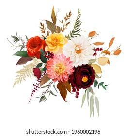 Moody boho chic wedding vector design bouquet. Warm fall and winter tones. Orange red, rust, burgundy, brown, cream, gold, beige, coral autumn colors. Rose flower, dahlia, ranunculus, eucalyptus,berry