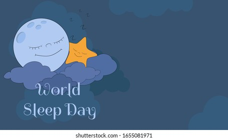The moon and an asterisk sweetly sleep on clouds in the foggy night sky. Horizontal vector postcard World Sleep Day in dark blue colors. Place for text.