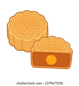 Moon cake, traditional Chinese round pastry eaten during Mid Autumn Festival. Cartoon mooncake with lotus seed paste filling and egg yolk. Isolated vector clip art illustration.