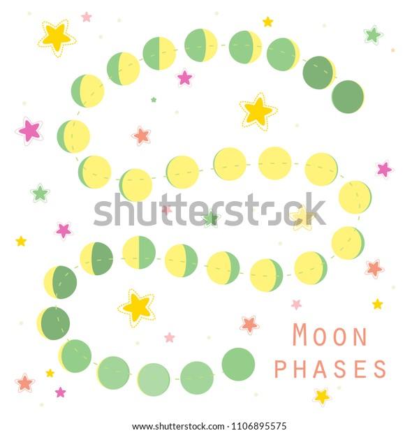 Moon Calendar 2018 Astronomical Moon Phases Stock Vector (Royalty