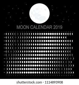 Moon calendar 2019 (English version)