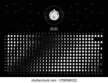 Moon Calendar 2021 Norhern Hemisphere black