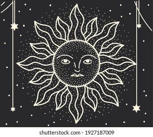 moon cartoon linear black background
