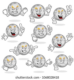 Moon Character Pack, vector set of moon mascot