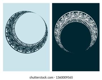 moon circle asymmetric art nouveau vector frame vector