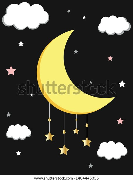 Moon, Clouds And Stars, Colorful Seamless Pattern. Decorative Background,  Sky Stock Vector - Illustration of banner, dream: 147001870