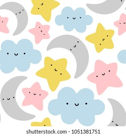 Moon, Cloud and Stars Cute Seamless Pattern, Cartoon Vector Illustration, Isolated Background