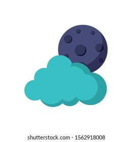 moon cloud weather astrology flat icon image vector illustration
