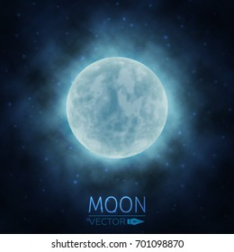 Moon in Clouds. The Background of the Moon in the Starry Sky. Moonlight in the Night Sky. Vector Illustration.