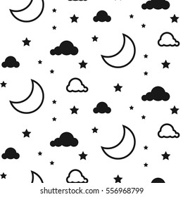 Moon and clouds seamless kid vector pattern. Black and white background. Monochrome child style textile fabric cartoon scandinavian ornament.