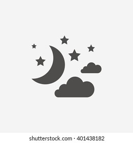 Moon, clouds and stars icons. Sleep dreams symbol. Night or bed time sign. Flat sign on white background. Vector