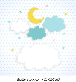 Moon, clouds and stars on the background fabric with polka dots. Children sweet vector background of the night sky with place for text. EPS 10