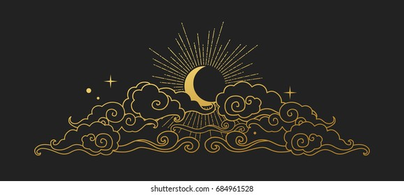 Moon in the cloudy sky. Decorative graphic design element in oriental style. Vector hand drawn illustration
