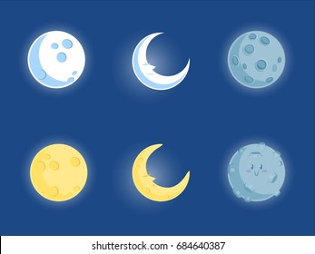 Moon collection with blue and yellow cute moon character