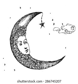 Moon. Drawing pen. Fabulous, the image of the heavenly moon.Sketch for a tattoo.