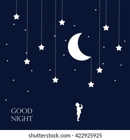 Moon and dreaming baby. Concept idea. Good night .vector illustration.EPS 8