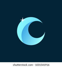 Moon Emblem for Ramadan and Eid Mubarak. Arabic Vector Illustration on night background.
