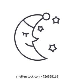 moon face, sleep time vector line icon, sign, illustration on background, editable strokes