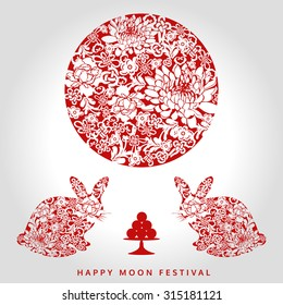 moon festival, chinese style, vector illustration