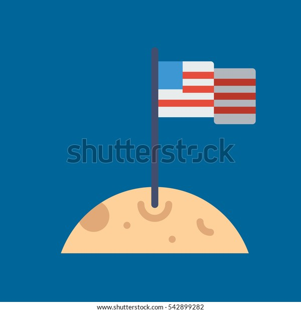 moon and flag icon flat disign