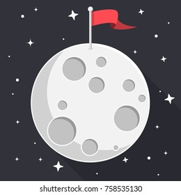 moon with flag and stars flat design icon