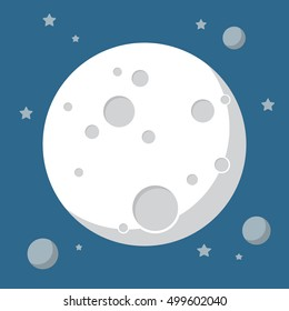 Moon in flat design style. Vector illustration