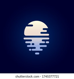 Moon flat icon. Moonlight logo. The moon and reflection in the water. Icon for spa, resort or hotel emblem.