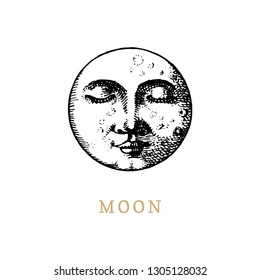 The Moon, hand drawn in engraving style. Vector graphic retro illustration.