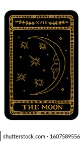 The Moon. Hand drawn major arcana tarot card template. Tarot vector illustration in vintage style with mystic symbols, crystals and line art stars. Witchcraft concept for tarot readers
