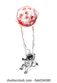 Moon hanging astronauts space mission, Hand Drawn Sketch Vector illustration.