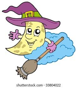 Moon in hat - vector illustration.